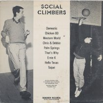 Image of album sleeve back Social Climbers (photos A. Leroy & Mark Bingham)