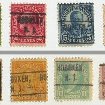 Image of Group of eight U.S. Postage stamps, Hoboken, N.J. pre-cancels; condition
