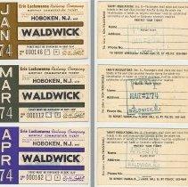 Image of Tickets, monthly commutation, 3: Erie Lackawanna Railway, Hoboken to Waldwick,1974.  - Ticket, Transportation