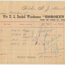 Image of Receipts from Hoboken Stores, Bonded Warehouses, Foot of 3rd St., Hoboken, N.J., March 1889. - Receipt