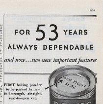 Image of Ad, Davis Baking Powder: For 53 Years Always Dependable. By R.B. Davis Co., Hoboken; in Hygeia, Nov. 1932. - Ad, Magazine