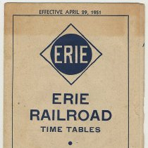 Image of Timetable: Erie R.R., 6 timetables, N.Y. & Port Jervis, et al., eff. Apr. 29, 1951. - Timetable