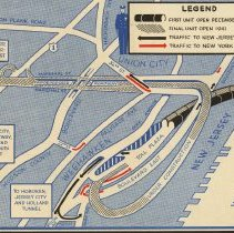 Image of detail 1st opening, lower left: Lincoln Tunnel with route to Hoboken et al
