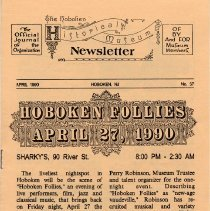 Image of Hoboken Historical Museum Newsletter [First Series], Volume 2, No. 37, April, 1990 - Periodical