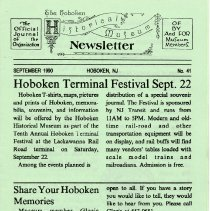 Image of Hoboken Historical Museum Newsletter [First Series], Volume 2, No. 41, September, 1990 - Periodical