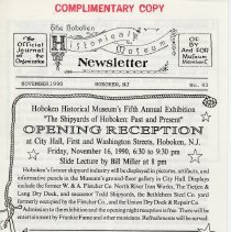 Image of Hoboken Historical Museum Newsletter [First Series], Volume 2, No. 43, November, 1990 - Periodical