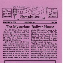 Image of Hoboken Historical Museum Newsletter [First Series], Volume 2, No. 44, December, 1990 - Periodical
