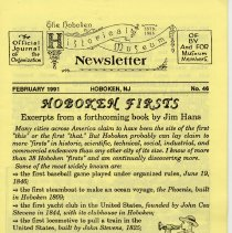 Image of Hoboken Historical Museum Newsletter [First Series], Volume 2, No. 46, February, 1991. - Periodical