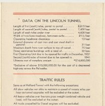 Image of side 1, center panel: data about tunnel, traffic rules, toll rates