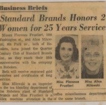 Image of Newsclipping re Standard Brands honoring Florence Frustieri & Alice Milewski, both of Hoboken, for 25 years of service, Hoboken, (1965.) - Clipping, Newspaper