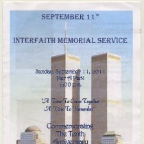 Image of Program: Interfaith Memorial Service, Sunday, Sept.11, 2011. Pier A Park, Hoboken. - Program
