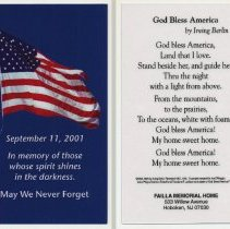 Image of Commemorative or mourning card: September 11, 2011. Issued by Failla Memorial Home, Hoboken, Sept. 2011. - Card, Commemorative