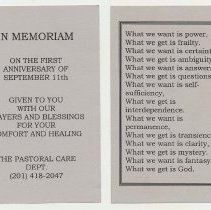 Image of 2: memorial card, view of both sides