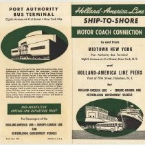 Image of Brochure: Holland-America Line Ship-to-Shore Motor Coach Connection. N.d, ca. 1951. - Brochure