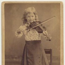 Image of Cabinet photo of Fred. Weisenbach ca. 3-5 years old with violin in photo studio, Hoboken, n.d., ca. 1880-1892. - Print, Photographic