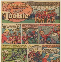 Image of Ad, Tootsie Roll: Pete the Flash Scores for Captain Tootsie. (Sweets Co. of America, Hoboken); ca. 1947-1952. - Strip, Comic