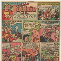 Image of Ad, Tootsie Roll: Captain Tootsie at the Snow Carnival. (Sweets Co. of America, Hoboken); ca. 1948-1950. - Strip, Comic