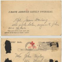 Image of Postcard: Soldiers' Mail, postmarked Hoboken, sent by Cpl. James Darling to Mrs. John Wiley, NYC, notifying her that he arrived in Europe, 1918 (arrived 4/17/18.) - Postcard