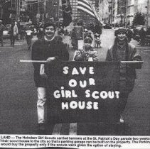 Image of Photo: Hoboken Girl Scouts protesting imminent sale of scout house while marching in 1997(?) Saint Patrick's Day parade, Hoboken.  - Clipping, Newspaper