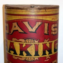 Image of Store display barrel: Davis OK Baking Powder. R. B. Davis Company, Hoboken, N.J., n.d., ca. 1900-1920. - Barrel