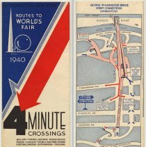 Image of Lincoln Tunnel: Metropolitan New York. Routes to World's Fair 1940. 4 Minute Crossings. Issued by Port of N.Y. Authority, 1940. - Brochure