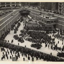 Image of B+W photo of New York plaza ceremony for opening of Lincoln Tunnel, Dec. 21, 1937. - Print, Photographic