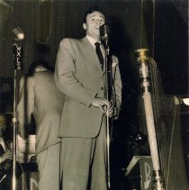 Image of 2: photo of Bob Anthony singing with Bob Chester & His Orchestra, ca. 1945.