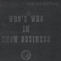 Image of 4: cover of Who's Who in Show Business 1951-52 Edition