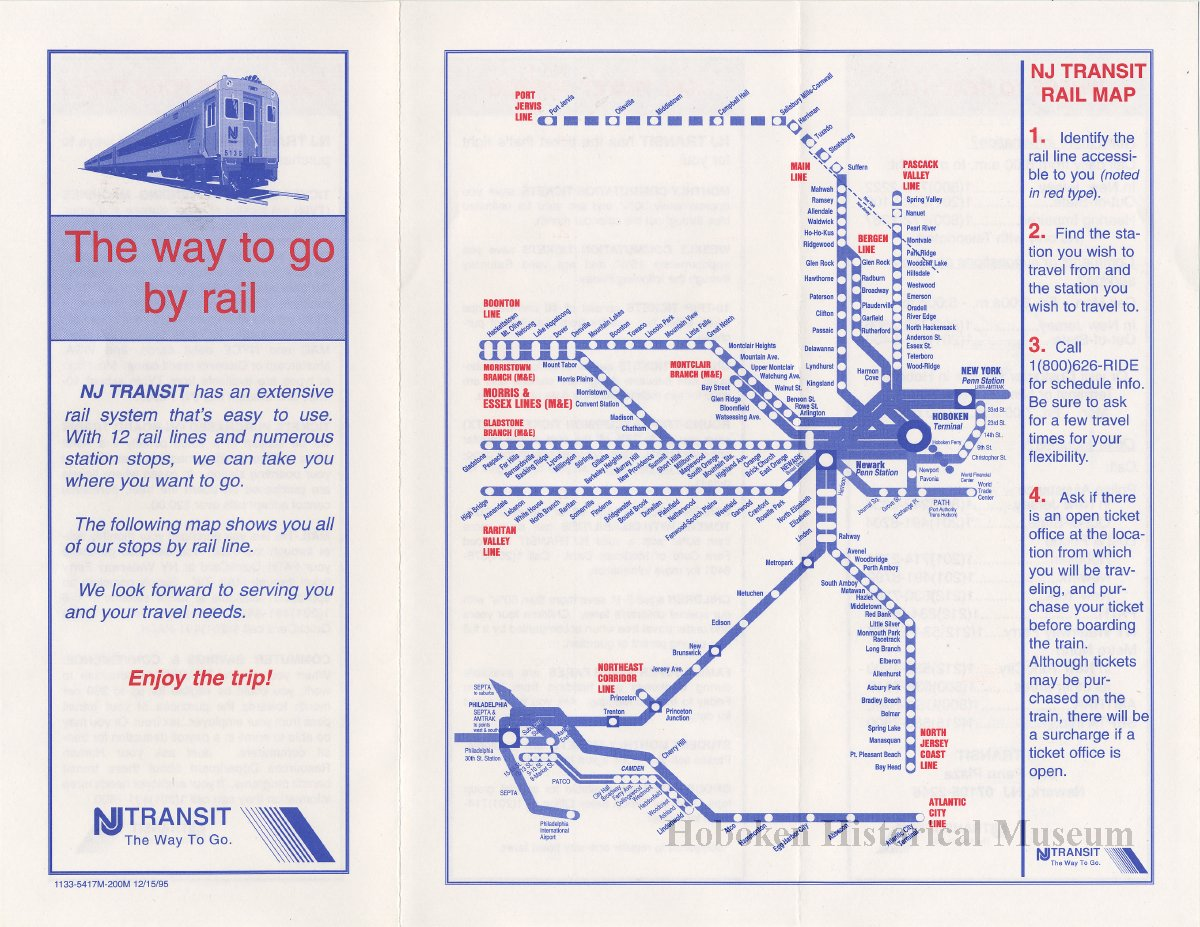 Brochure: The way to go by rail  NJ Transit  Issued Dec  15, 1995  - Map