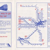 Image of side 1: front cover (when folded) + rail map