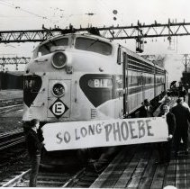 Image of B+W photo of people commemorating final departure of train Phoebe Snow from Hoboken, Nov. 27, 1966. - Print, Photographic