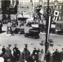 Image of B+W photo of Holland Tunnel opening day, N.Y. entry plaza, Nov. 13, 1927; 1987 issue.  - Print, Photographic
