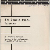 Image of The Lincoln Tunnel Pavement ... By E. Warren Bowden, Port of N.Y. Authority. 1958. - Pamphlet