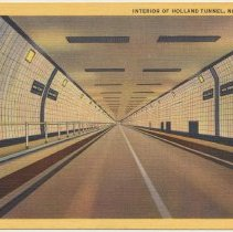 Image of Postcard: Interior of Holland Tunnel, New York City. No date, ca. 1940s. - Postcard
