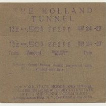 Image of Toll receipts, two, from the Holland Tunnel, 1927.  - Receipt