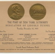 Image of Ticket to the dedication ceremonies & luncheon for the Lincoln Tunnel on Tuesday, Dec. 21, 1937.  - Ticket