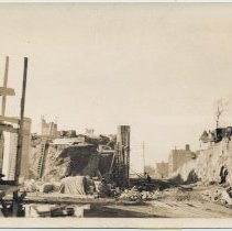 Image of Photos, 2, of construction in Weehawken for Lincoln Tunnel approaches & bridge, n.d., (1938.) - Photograph