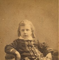 Image of Carte-de-visite: unknown boy or girl posed in studio, Hoboken, n.d., ca. 1870-1892.  - Carte-de-visite