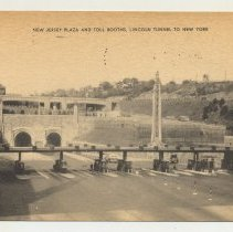 Image of Postcard: New Jersey Plaza & Toll Booths, Lincoln Tunnel to New York. Postmarked Nov. 25, 1946. - Postcard