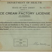 Image of 1935 Ice Cream Factory License