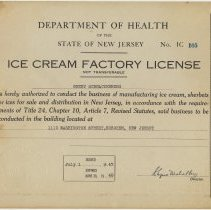 Image of 1947 Ice Cream Factory License