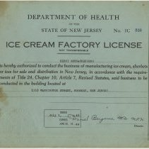 Image of 1949 Ice Cream Factory License