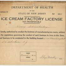 Image of 1932 Ice Cream Factory License