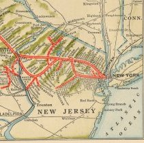 Image of map detail lower right: Hoboken and suburban routes