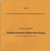 Image of 1926 Annual Report of Delaware, Lackawanna & Western R.R. Co. - Report, Annual