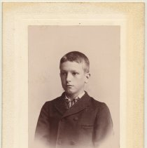 Image of Cabinet photo of boy, probably taken in Hoboken, n.d, ca. 1892-1896. Mantellos mount. - Photograph, Cabinet