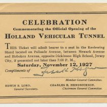 Image of Ticket: Celebration Commemorating the Official Opening of the Holland Vehicular Tunnel. Jersey City, Nov. 12, 1927. - Ticket