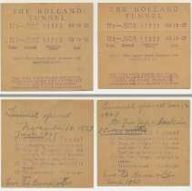 Image of Toll receipts, two, from the Holland Tunnel, Nov. 19, 1927. Souvenirs of a roundtrip. - Receipt