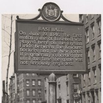 Image of B+W photo of baseball centennial plaque at 11th & Hudson Sts., Hoboken, n.d., ca. 1950s-1960s. - Print, Photographic