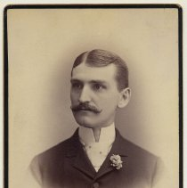 Image of Cabinet photo of unidentified moustached man posed in photographer's studio, Hoboken, n.d., ca. 1892-1894. - Photograph, Cabinet